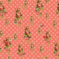 Devotion - Floral Dot Coral 1/2 Metre Length