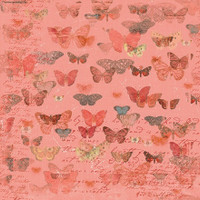 Devotion - Butterflies Coral 1/2 Metre Length