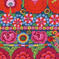 Artisan - Embroidered Flower Border - Red 1/2 Metre Length