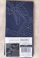 "Sashiko Cloth - Dragonfly - 100% cotton  approx finish 12"" x 12"""