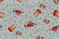 Lynette Anderson Scandinavian Christmas 2 Santas Blue - per half metre length