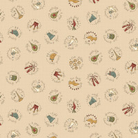 12th Day Circles Cream- On the 12th day Collection - 1/2 metre length