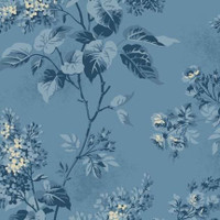 Blue flowers on blue   Blue Sky Collection   Laundry Basket Quilts by Edytar Sitar   1/2 metre length