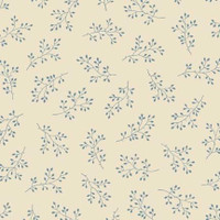 Blue sprig on cream | Blue Sky Collection | Laundry Basket Quilts by Edytar Sitar | 1/2 metre length