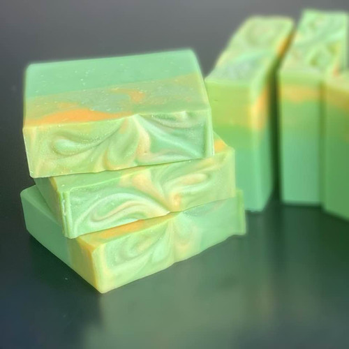 Luxuriously made cold process soap with Lemongrass essential oil, French green clay and coconut milk.