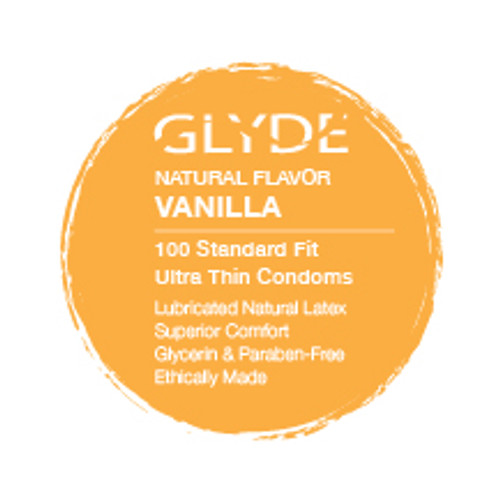 GLYDE ULTRA Organic Flavored Vanilla 100-Count bulk condoms