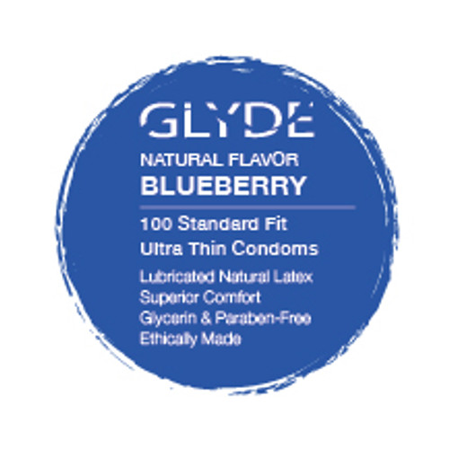 GLYDE ULTRA Organic Flavored Blueberry Bulk Condoms 100-Count