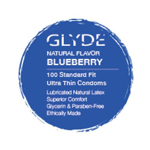 GLYDE ULTRA Organic Flavored Blueberry Bulk Condoms 100-Count