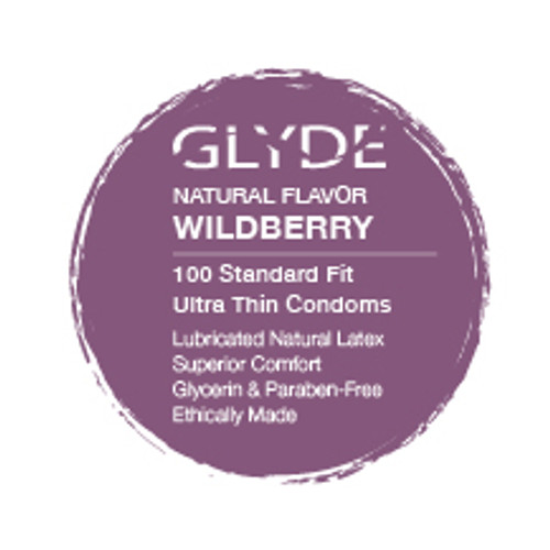 GLYDE ULTRA Organic Flavored Wildberry  Bulk Condoms 100-Count Box