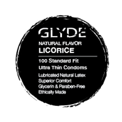 GLYDE Organic Black Licorice Flavored Bulk Condoms 100 Count Box