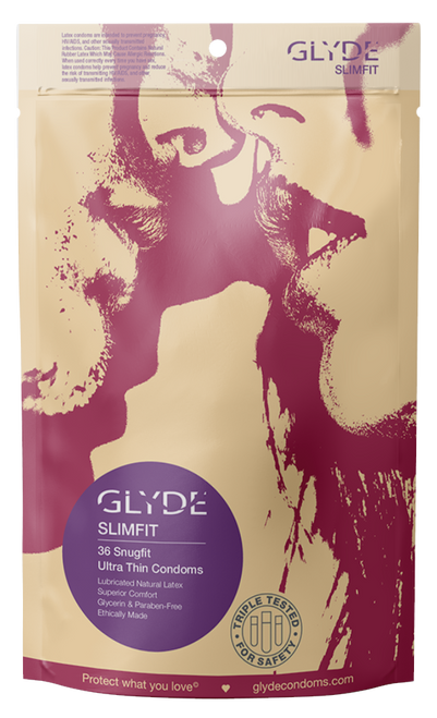 GLYDE SLIMFIT Vegan and Fair Trade Snug Fit Condoms 36 Count
