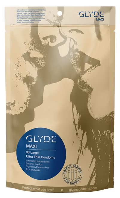 GLYDE MAXI Ultra Thin Large XL Vegan Condoms 36 Count