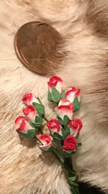 Red & White Paper Rose Buds