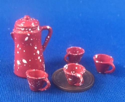 Red Splatterware Coffee Set
