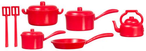 Miniature Red Plastic Pot & Pan Set