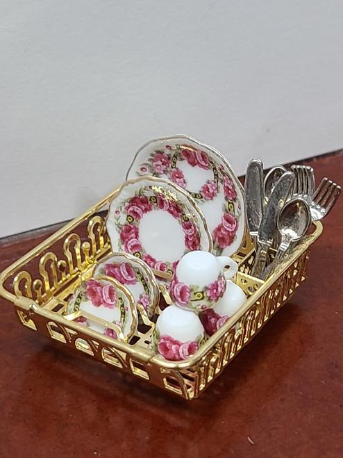 Miniature Reutter Porzellan Rose Dish Rack