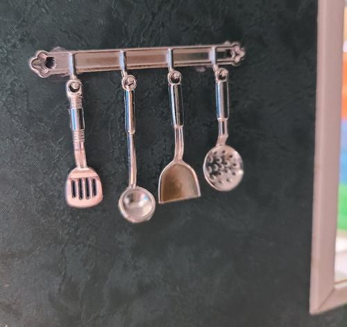Kitchen Hanging Utensils - Silver