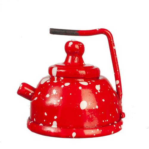 Red Spatterware Tea Kettle