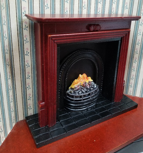Mahogany Fireplace with Insert