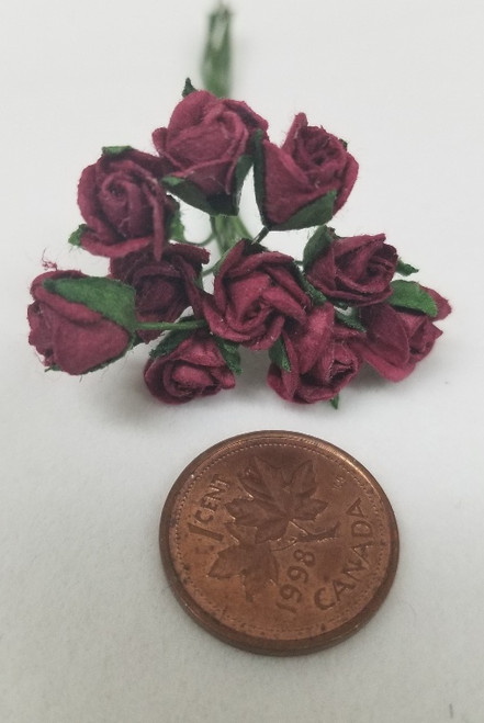 Burgandy Half Open Paper Roses