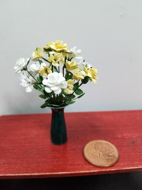 OOAK Martha McLean Mixed Flower Arrangement-Yellow