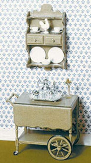 Miniature Tea Cart, Shelf & Accessories Kit