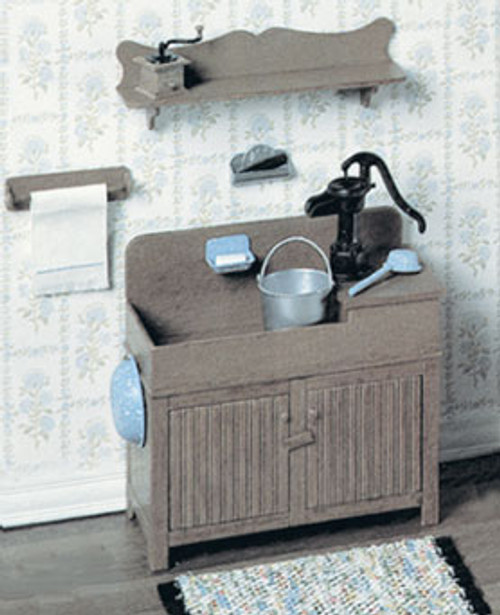 Miniature Dry Sink, Shelf & Accessories Kit (see description for list)