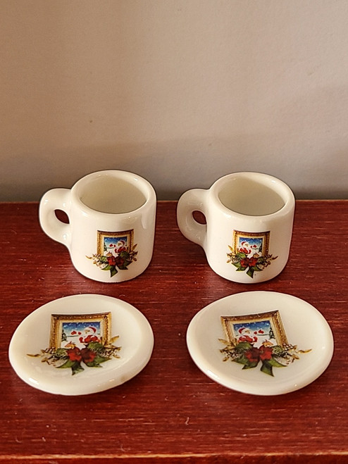 Miniature Christmas Mugs & Plates - Frame