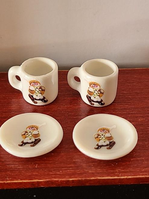 Miniature Christmas Cups & Plates - Skiing Snowman