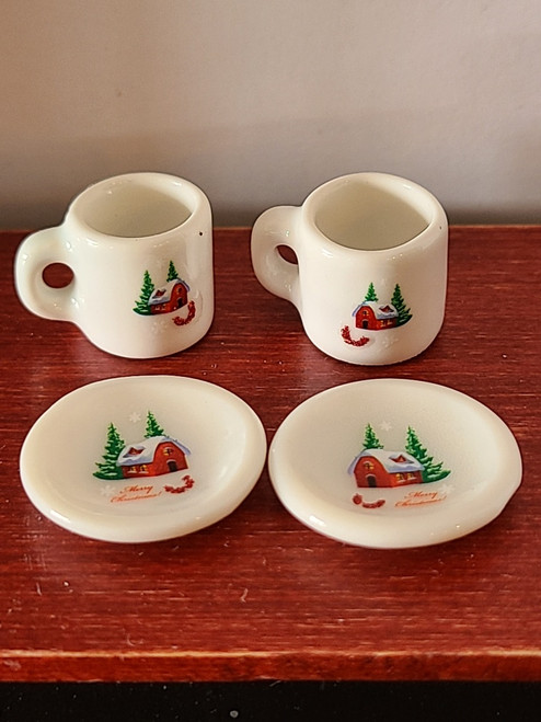 Miniature Christmas Cups & Plates - Snowy Barn