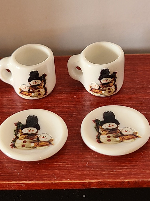 Miniature Christmas Cups & Plates - Country Snowmen