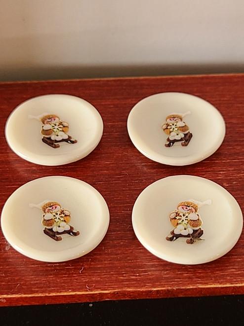 Miniature Christmas Plates - Skiing Snowman