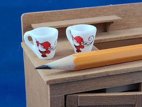 Pair of Miniature Mugs - Santa