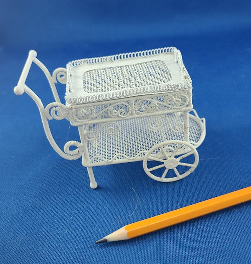 1/12 Scale Miniature White Wire Tea Cart