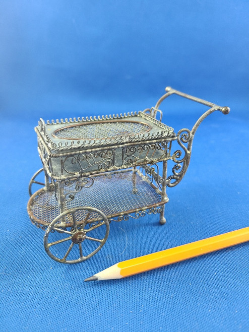 1/12 Scale Miniature Bare Wire Tea Cart