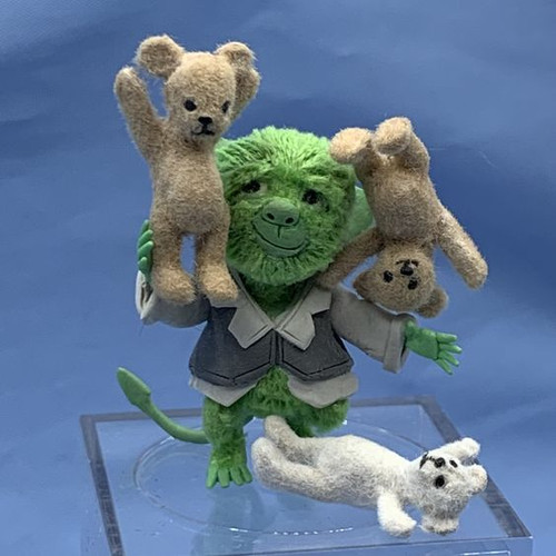 "Aleah Klay Character - Green Guy with 3 Teddy Bears(1 7/8"" tall)"