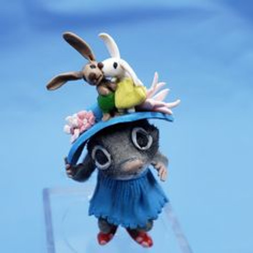 """Aleah Klay Character - Mouse in Bunny Bonnet(1 3/4"""" tall)"""