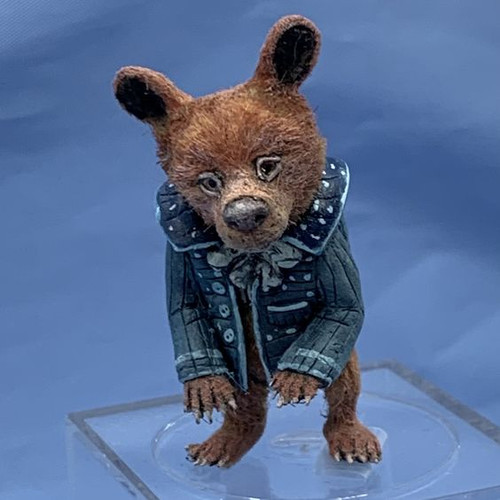 "Aleah Klay Character - Bear in Blue Jacket(1 7/8"" tall)"