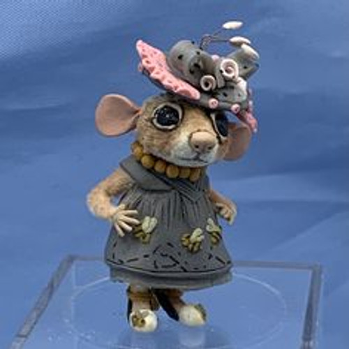 """Aleah Klay Character - Mouse in Grey Dress(1 3/4"""" tall)"""