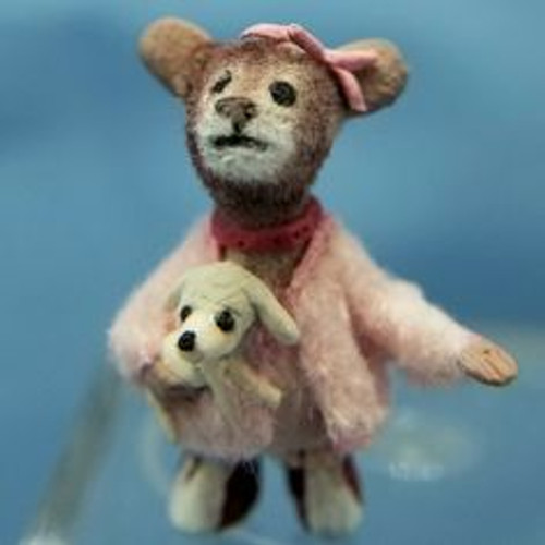 """Aleah Klay Character -Mouse in Pink Dress with Dog (3/4"""" tall)"""