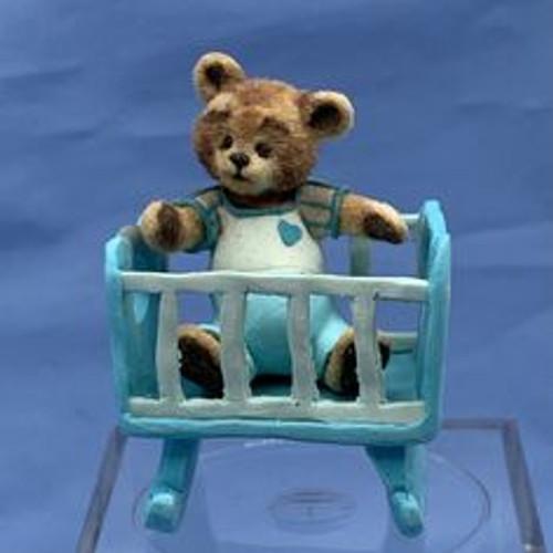 "Aleah Klay Character - Teddy Bear in Cradle (1 3/8"" tall)"