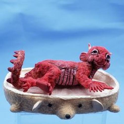 """Aleah Klay Character - Dragon in Dog Bed(7/8"""" tall)"""