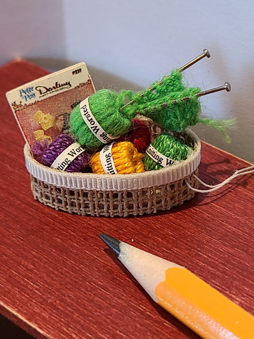 Miniature Basket of Yarn & Needles