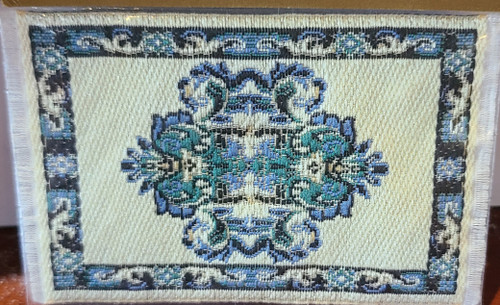 "Blue Miniature Area Rug  3"" x 1 7/8"""
