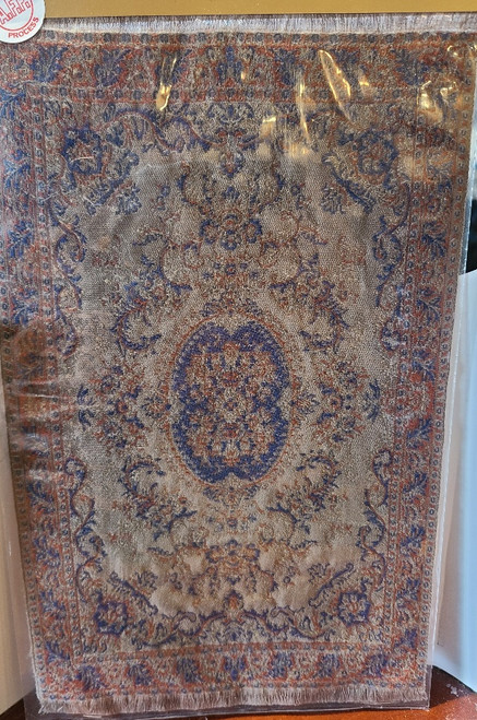 "Brown & Blue 1/12 Scale  Miniature Aged Area Rug 9 1/4"" x 5 3/4"""