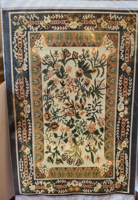 "Green & Gold 1/12 Scale  Miniature Aged Area Rug 9 1/4"" x 5 3/4"""