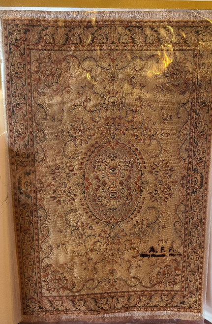 "1/12 Scale  Miniature Aged Area Rug 11 3/4"" x 7 11/16"""
