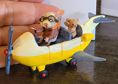 "Aleah Klay Character-Mouse with Teddy on Plane(2"" tall)"
