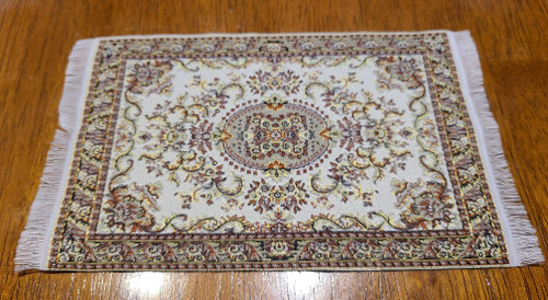 "Brown Tone 1/12 Scale  Miniature Area Rug 3 7/8"" x 6 1/2"""