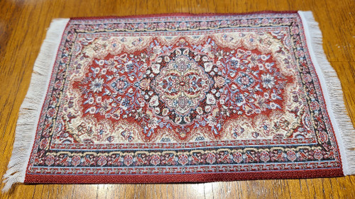 "Burgundy Tone 1/12 Scale  Miniature Area Rug 3 7/8"" x 6 1/2"""